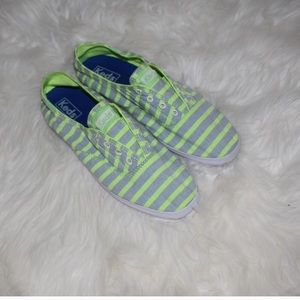 Keds laceless striped neon sneakers size 6.5